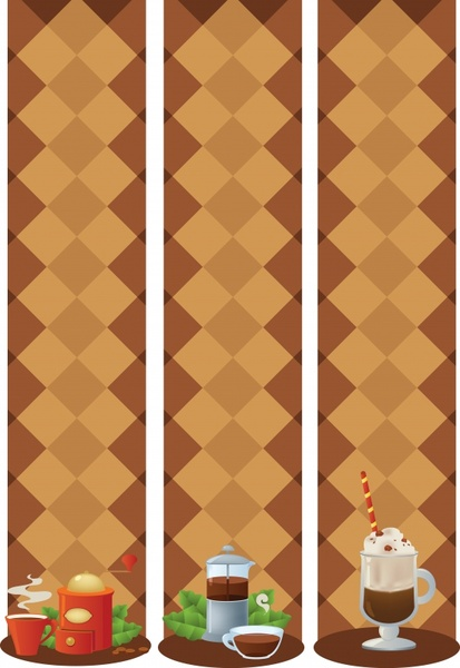 coffee time banners vertical symmetric geometry background decor