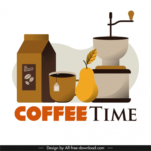 coffee time poster objects sketch colored classic design