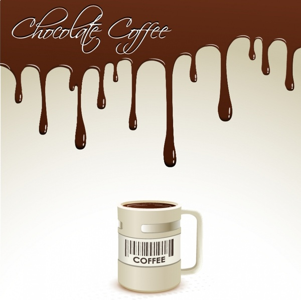coffee advertising banner melting chocolate realistic cup decor