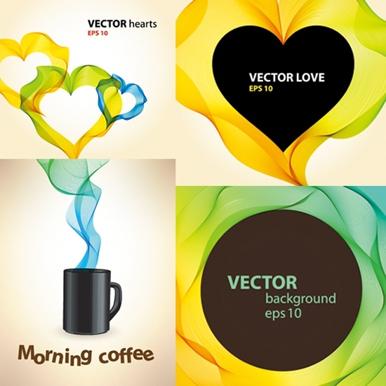 coffee love background templates modern colorful smoke decor