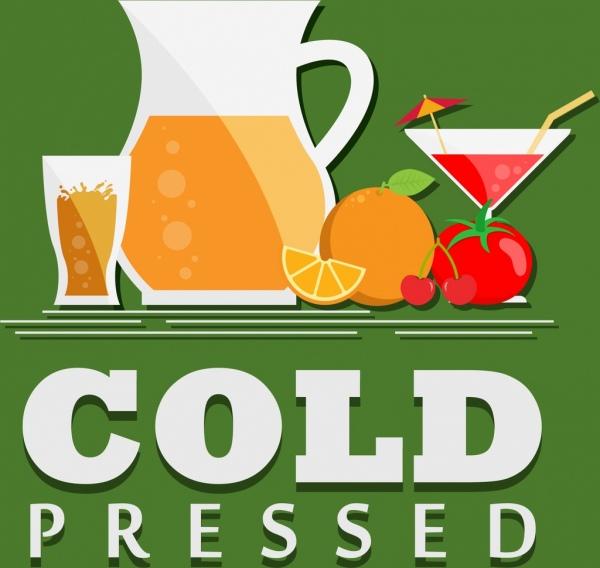 cold fruit juice advertisement fruit glass icons decor
