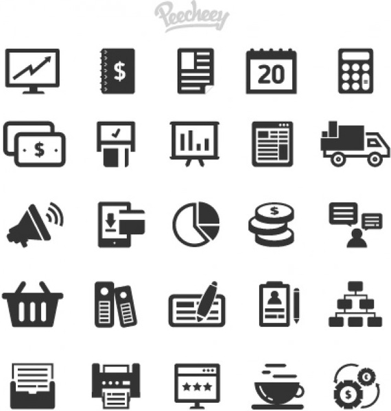 collection of gray simple business icons free vector in