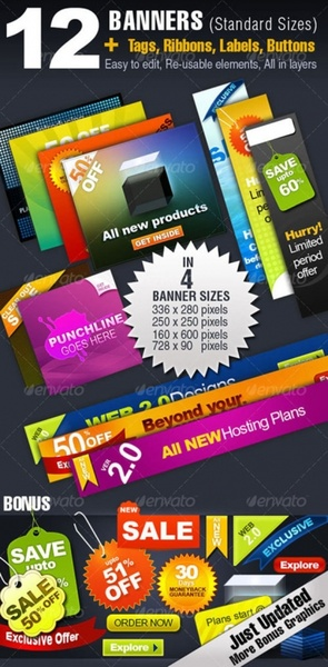 color labels and banner psd layered