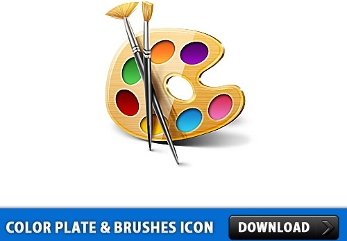 Color Plate and Brushes Icon PSD