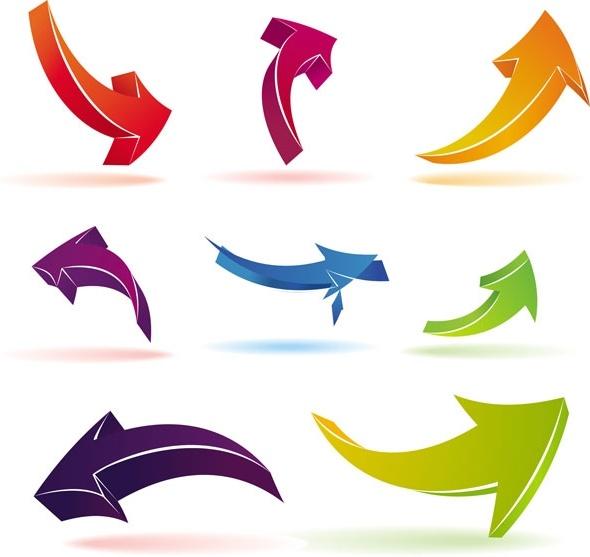 color threedimensional arrow vector
