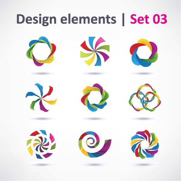 Web Icons Templates Colors Blend Circles Twist Shapes Free Vector In
