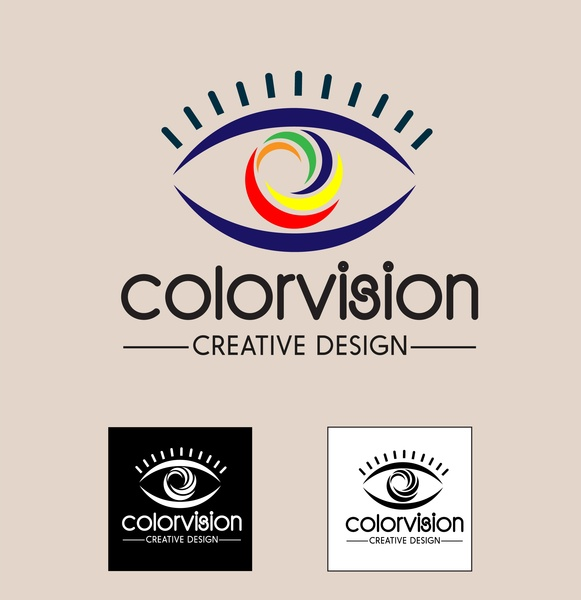 color vision design concept illustration with abstract eyes