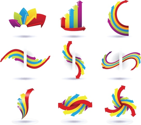decorative arrows icons colorful modern dynamic shapes
