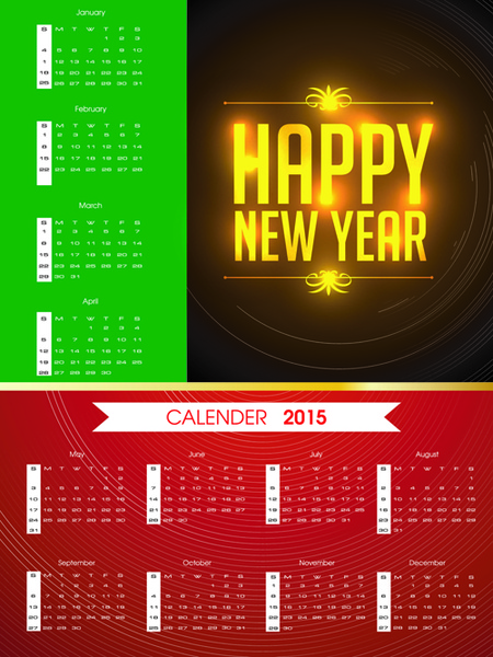 colored calendar15 with happy new year background