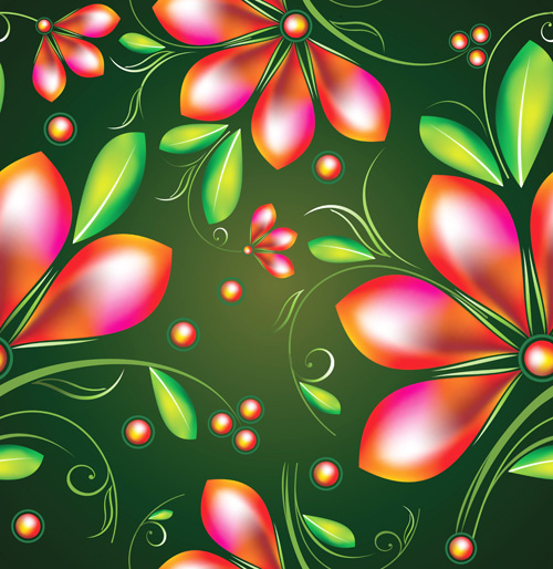 colored flower seamless pattern vector