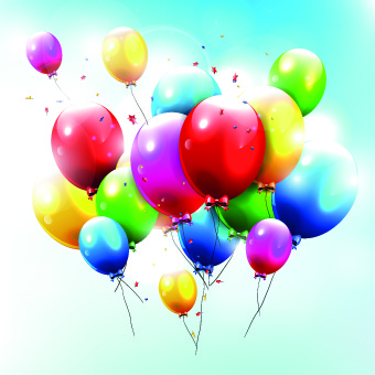 Colored Happy Birthday Balloons Vector Free 381 Bytes