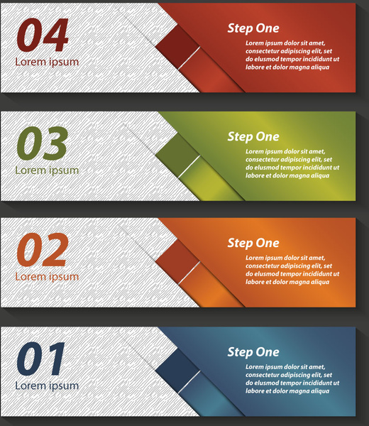 colored horizontal banners template inforgraphic diagram