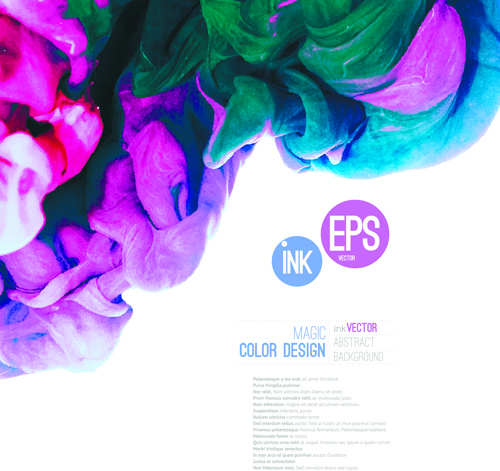 colored ink water cloud background vector