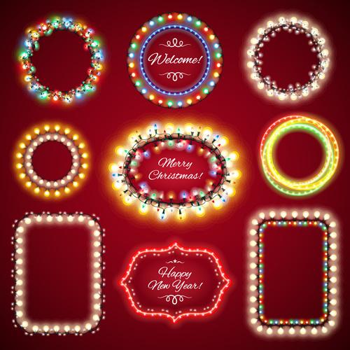 colored lights christmas frames vector set