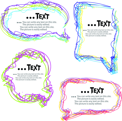 colored lines cloud for text design vector