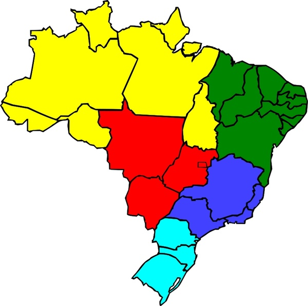 Colored map of Brazil Free vector in Open office drawing svg ...