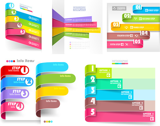 colored numbered infographics set vector