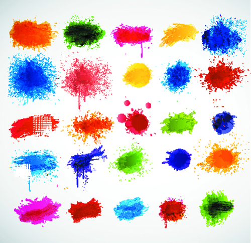 colored paint splashes grunge vector background
