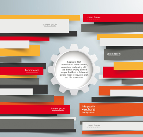 colored paper infographics background vector set