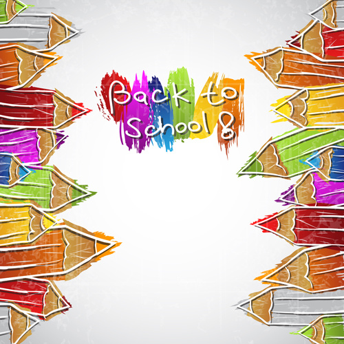 colored pencil hand drawn school elements vector