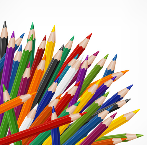 colored pencils vector background set