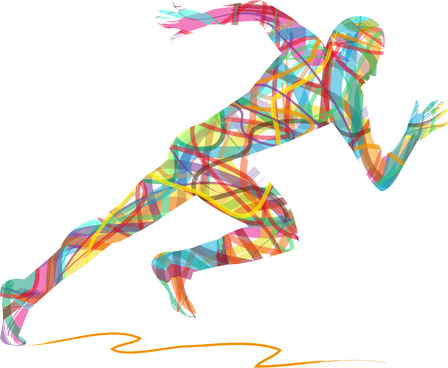 Colored Ribbon Running Man Vector