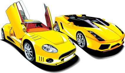 colored sport car elements vector