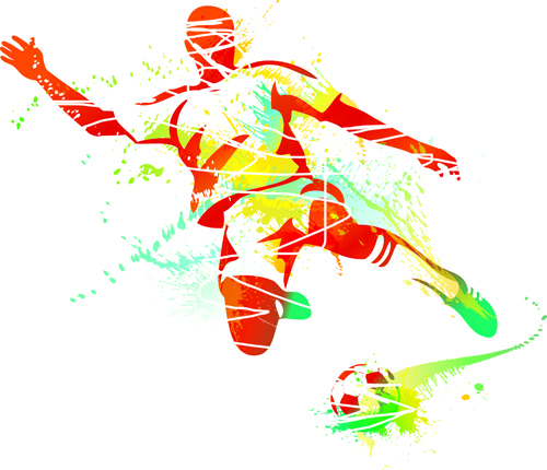 colored sports elements vector art