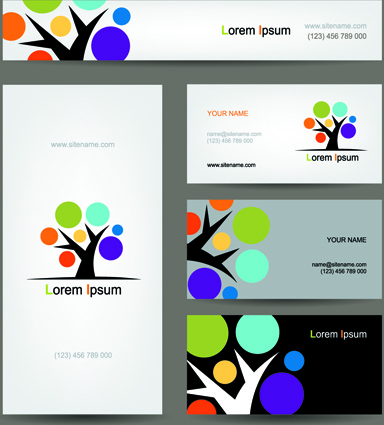 Colored tree business card vector free vector in encapsulated colored tree business card vector colourmoves