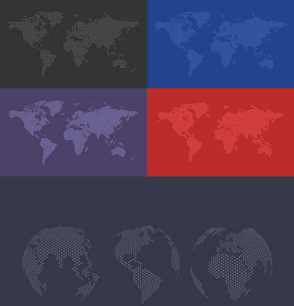 colored world maps free vector