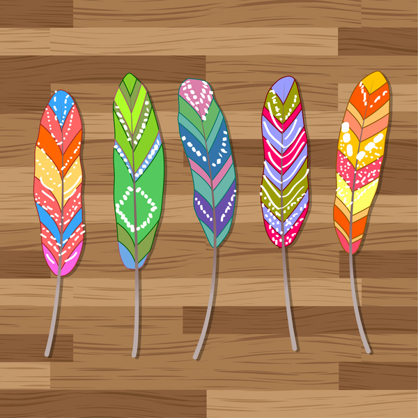colorful abstract feather set