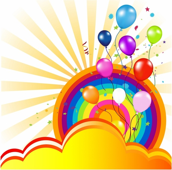 colorful balloon and rainbow