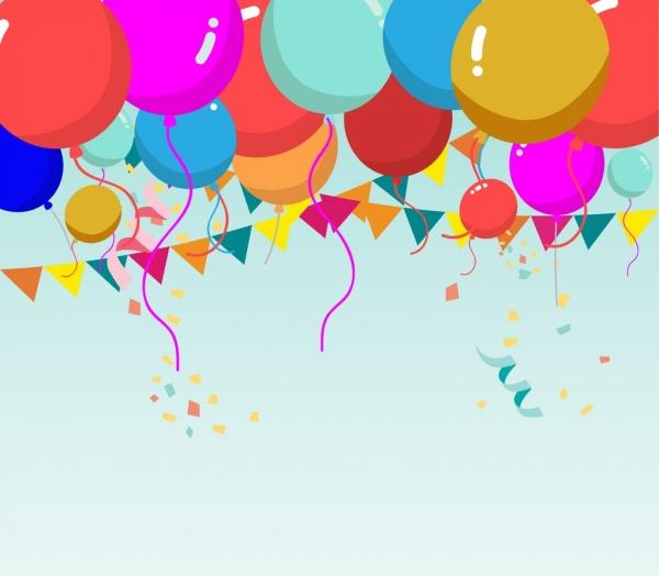 colorful balloon background ribbon decoration cartoon style