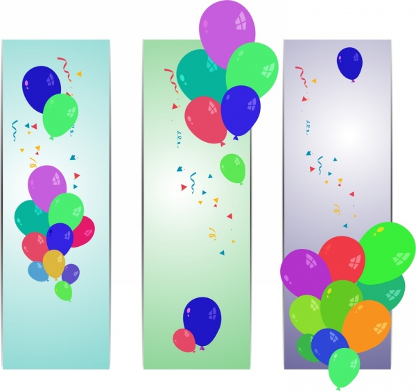 colorful balloon background sets flying objects ornament