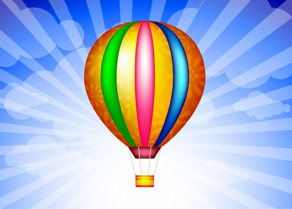 colorful balloon background white cloud rays backdrop