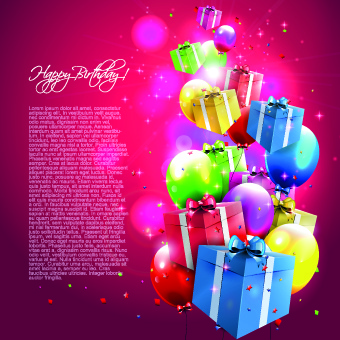 Colorful Balloons Happy Birthday Greeting Cards Background Free Vector 502MB