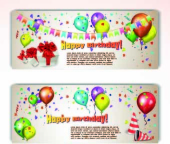 colorful balloons holiday banner vector