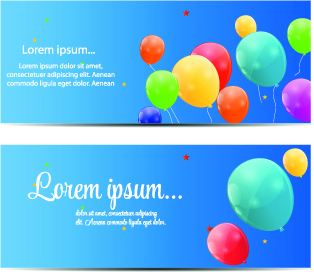 colorful balloons holiday banner vector set