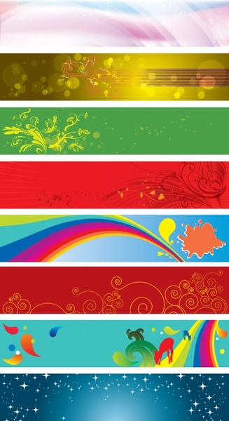decorative background sets nature themes colorful horizontal design