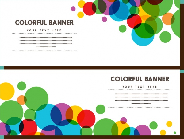 colorful banner sets bokeh style design