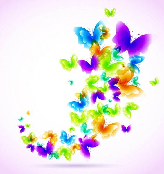 butterflies background colorful bright modern design