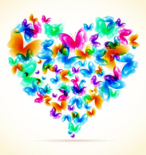 romance background colorful butterflies decor heart layout