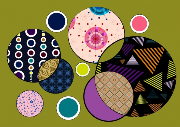 colorful circles background abstract geometric pattern decoration