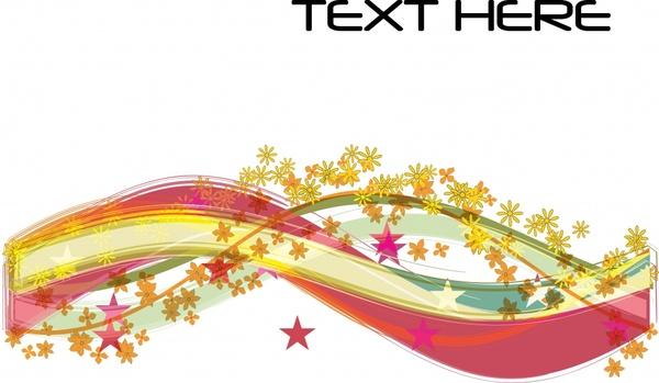 decorative background colorful dynamic curves stars decor