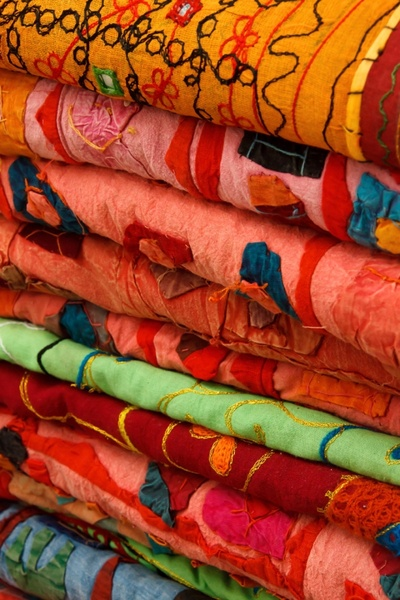 colorful fabrics stacked