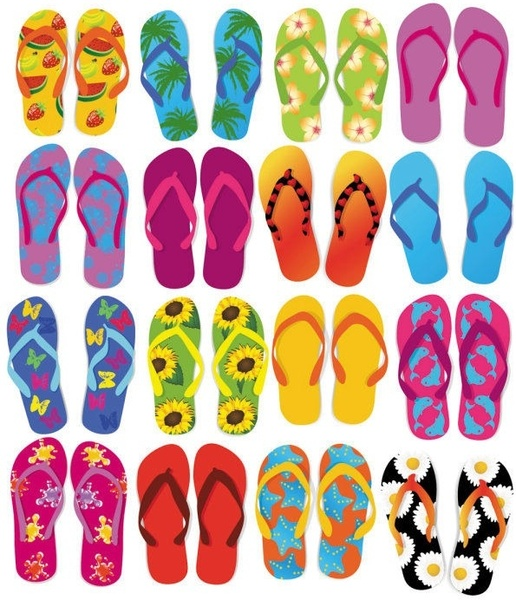 ced3daee9f00 Colorful Flip Flops Vector Set Free vector in Encapsulated ...