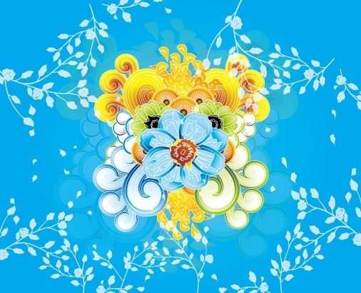 colorful flowers background classical style decoration