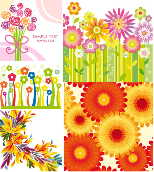 colorful flowers background vector art