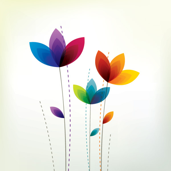 colorful flowers vector graphic