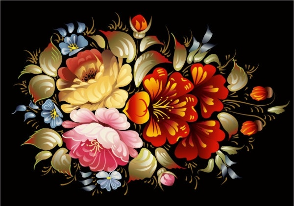 colorful folk art painting 01 vector